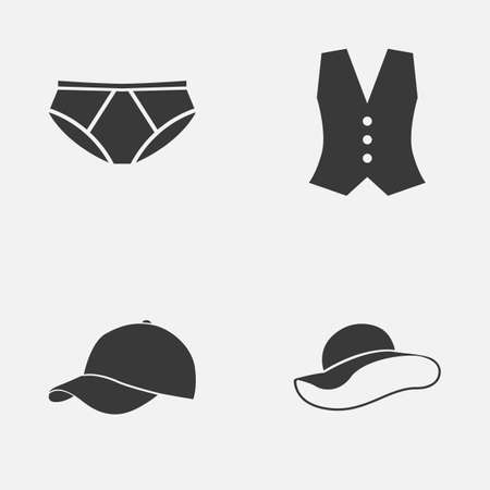 Garment Icons Set: Collection Of Elegant Headgear, Briefs, Trilby And Other Elements. Also Includes Symbols Such As Cap, Hat, Waistcoat. Illustration