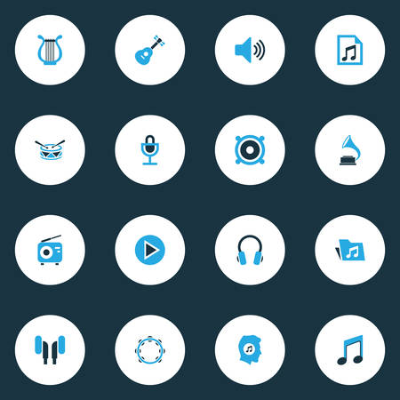 favourite: Audio Colorful Icons Set. Collection Of Folder, Radio, Speaker And Other Elements. Also Includes Symbols Such As Loudspeaker, Note, Earmuff.