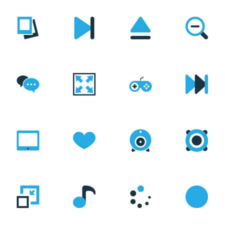 registry: Media Colorful Icons Set. Collection Of Amplifier, Finish, Decrease And Other Elements. Also Includes Symbols Such As Album, Eject, Variety.