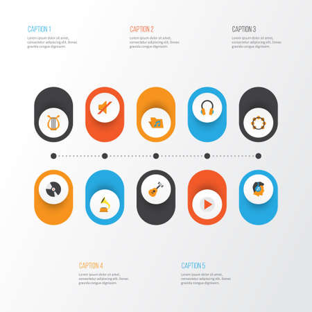 Music Flat Icons Set. Collection Of Button, Portfolio, Ear Muffs And Other Elements. Also Includes Symbols Such As Quiet, Earmuff, Disk. Illustration