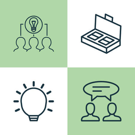 Management Icons Set. Collection Of Collaborative Solution, Great Glimpse, Dialogue And Other Elements. Also Includes Symbols Such As Idea, Collaborative, Business.