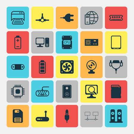 Hardware Icons Set. Collection Of Loudspeakers, Vga Cord, Aux Cord And Other Elements. Also Includes Symbols Such As Computer, Scan, Fan. Illustration
