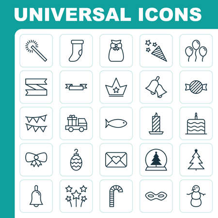 bengal: Holiday Icons Set. Collection Of Christmas Toy, Winter, Lollipop And Other Elements. Also Includes Symbols Such As Aquatic, Snowman, Festival.
