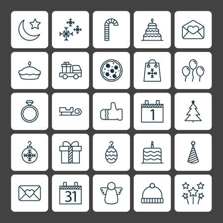 goodness: Holiday Icons Set. Collection Of Greeting Email, Crescent, Mitten And Other Elements. Also Includes Symbols Such As Cane, Close, Dessert. Illustration