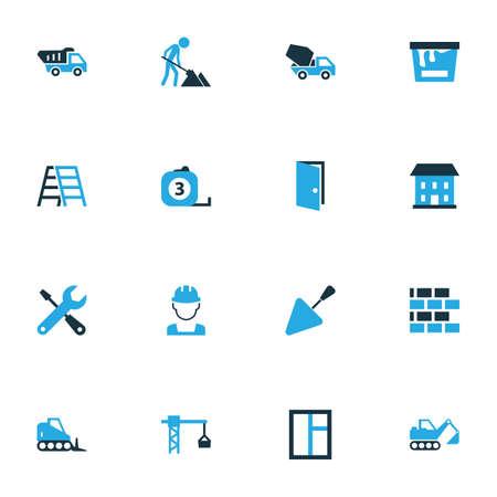 アーキテクチャのカラフルなアイコンを設定します。ワーカー、階段、パテナイフ、他の要素のコレクションです。ドーザー、ヒント、機器などの