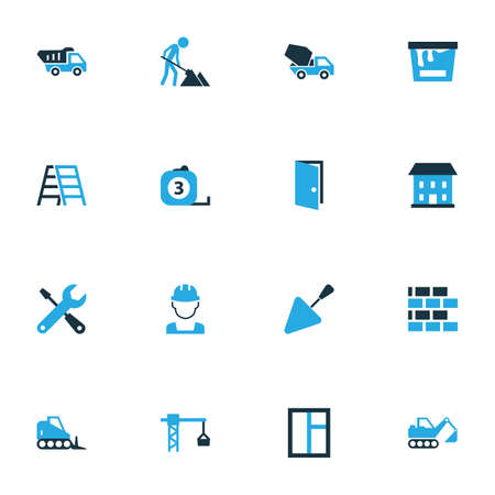 Architecture Colorful Icons Set. Collection Of Worker, Stairs, Putty Knife And Other Elements. Also Includes Symbols Such As Dozer, Tip, Equipment. Иллюстрация