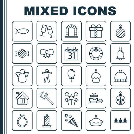 Urlaub Icons Set. Sammlung von Garland, Arch, Kracher Elemente. Enthält auch Symbole wie Box, Tart, Sparkle.