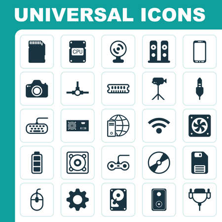 Hardware Icons Set. Collection Of Settings, Aux Cord, Diskette And Other Elements. Also Includes Symbols Such As Connectivity, Gamepad, Computer.
