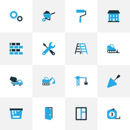 rural development: Industry Colorful Icons Set. Collection Of Measure Tool, Glass, Screwdriver And Other Elements. Also Includes Symbols Such As Mixer, Knife, Crane. Illustration