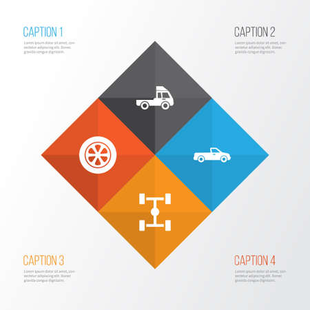 Automobile Icons Set. Collection Of Wheel, Van, Wheelbase And Other Elements. Also Includes Symbols Such As Van, Pickup, Wheelbase.