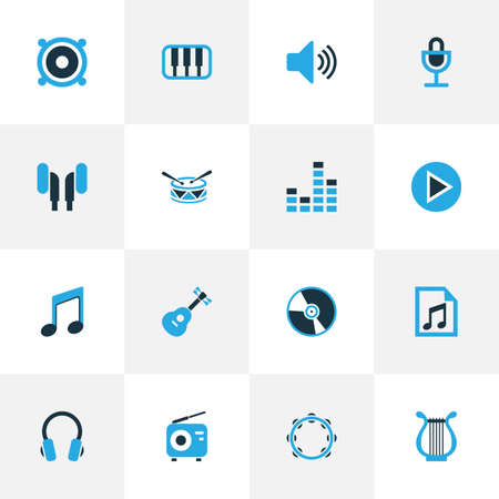 Multimedia Colorful Icons Set. Collection Of Playlist, Headset, Speaker And Other Elements. Also Includes Symbols Such As Play, Musical, Tambourine. Illustration