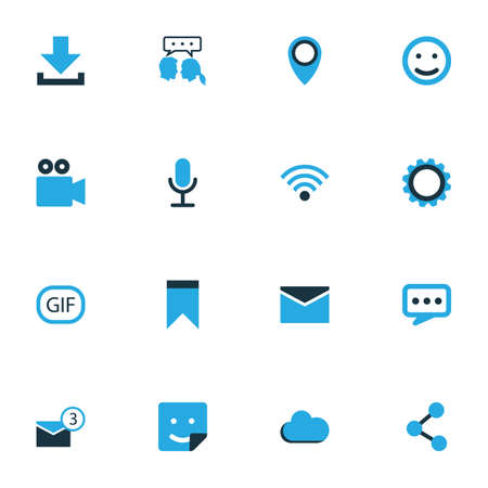 Media Colorful Icons Set. Collection Of Envelope, Smile, Share And Other Elements. Also Includes Symbols Such As Smile, Sticker, Publish. Illustration