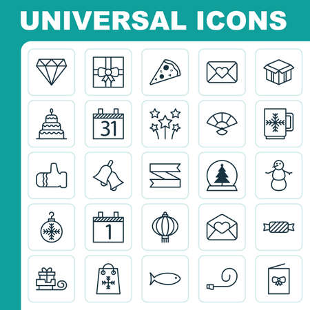 Happy Icons Set. Collection Of Japan Souvenir, Sweet, Open Cardboard And Other Elements. Also Includes Symbols Such As Bell, Jingle, Glove.