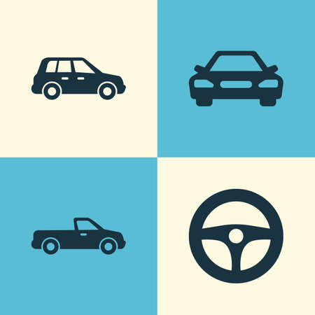 Auto Icons Set. Collection Of Auto, Drive Control, Car And Other Elements. Also Includes Symbols Such As Control, Car, Auto. Illustration