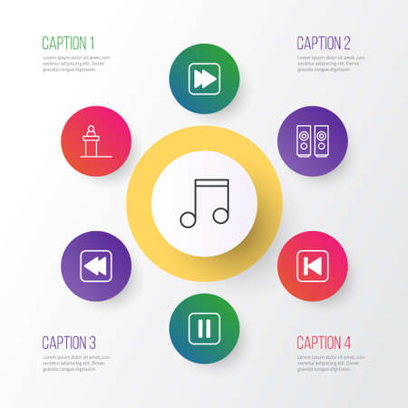 Audio Icons Set. Collection Of Sound Box, Note, Following Song And Other Elements. Also Includes Symbols Such As Button, Tribune, Rostrum.