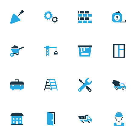 clambering: Building Colorful Icons Set. Collection Of Lifting Hook, Stairs, Tip Truck And Other Elements. Also Includes Symbols Such As Barrow, Lifting, Toolbox.