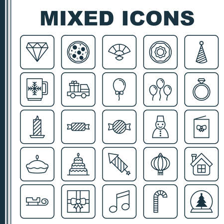 Year Icons Set. Collection Of Wedding Jewel, Firework, Balloon And Other Elements. Also Includes Symbols Such As Tree, Fire, Tart.