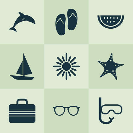 beach sunset: Sun Icons Set. Collection Of Sunny, Tube, Star And Other Elements. Also Includes Symbols Such As Ship, Sunny, Sun.