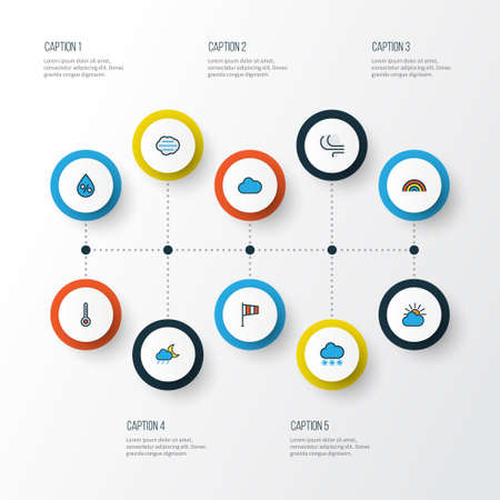 Weather Colorful Outline Icons Set. Collection Of Tempest, Rainbow, Snowing And Other Elements. Also Includes Symbols Such As Overcast, Degree, Clouded. Vector Illustration