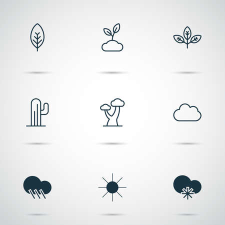 Landscape Icons Set. Collection Of Tree Leaf, Raindrop, Cold Climate And Other Elements. Also Includes Symbols Such As Tree, Rain, Sunlight.