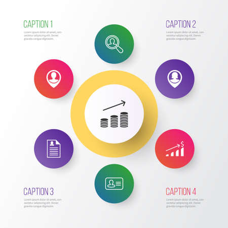 Resources Icons Set. Collection Of Female Application, Coins Growth, Successful Investment And Other Elements. Also Includes Symbols Such As Resume, Dollar, Money.