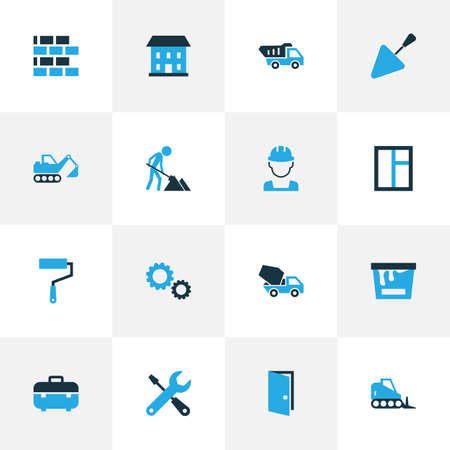 dumper: Construction Colorful Icons Set. Collection Of Maintenance, Digger, Putty Knife And Other Elements. Also Includes Symbols Such As Cement, Truck, Instruments.