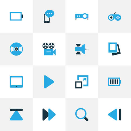 palmtop: Media Colorful Icons Set. Collection Of Video, Presentation, Mobile Content And Other Elements. Also Includes Symbols Such As Palmtop, Next, Joystick.