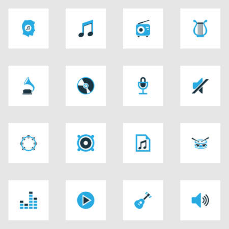 fm: Multimedia Colorful Icons Set. Collection Of Radio, Gramophone, Harp And Other Elements. Also Includes Symbols Such As Microphone, Button, Music. Illustration