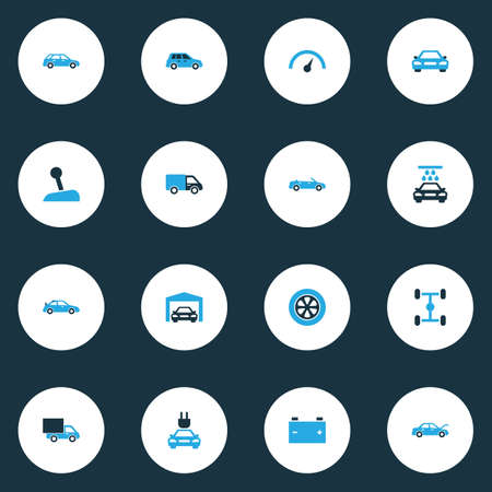 rim: Car Colorful Icons Set. Collection Of Garage, Van, Speedometer And Other Elements. Also Includes Symbols Such As Crossover, Fixing, Convertible. Illustration