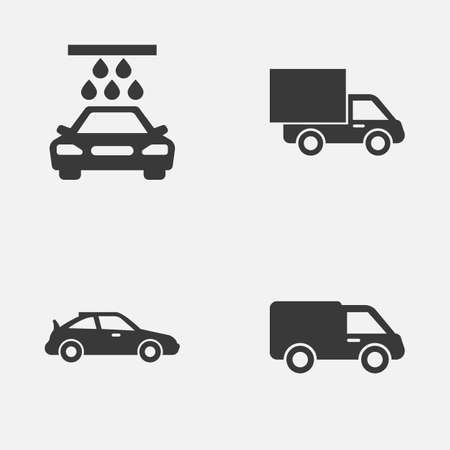 Auto Icons Set. Collection Of Truck, Lorry, Crossover And Other Elements. Also Includes Symbols Such As Water, Truck, Crossover.