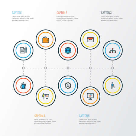 Business Colorful Outline Icons Set. Collection Of Team, Administrator, Report Demonstration And Other Elements. Also Includes Symbols Such As Cash, Contract, Network.