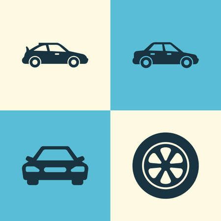Car Icons Set. Collection Of Wheel, Automobile, Crossover And Other Elements. Also Includes Symbols Such As Crossover, Sedan, Car.