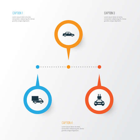 Auto Icons Set. Collection Of Plug, Automobile, Lorry And Other Elements. Also Includes Symbols Such As Automobile, Sedan, Electric. Illustration