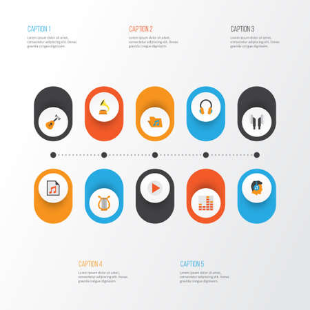 mp3: Multimedia Flat Icons Set. Collection Of Male, Sonata, Media And Other Elements. Also Includes Symbols Such As Sonata, Equalizer, Portfolio.