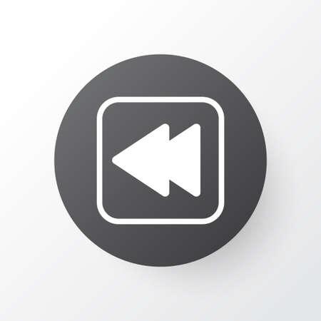 Backward Music Icon Symbol. Premium Quality Isolated Rewind Back Element In Trendy Style.