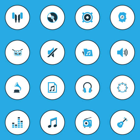 fm: Multimedia Colorful Icons Set. Collection Of Speaker, Playlist, Headphone And Other Elements. Also Includes Symbols Such As Antique, Guitar, Loudspeaker.