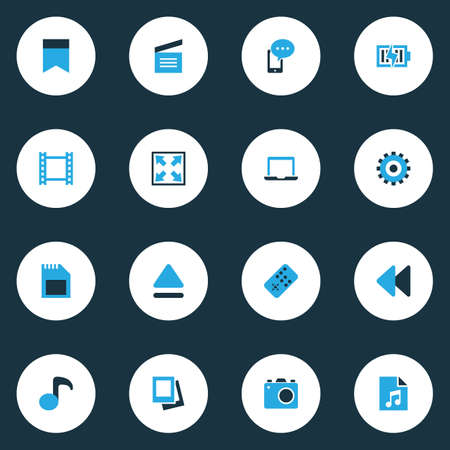 Music Colorful Icons Set. Collection Of Memory, Playlist, Mobile Content And Other Elements. Also Includes Symbols Such As Gear, Eject, Laptop.