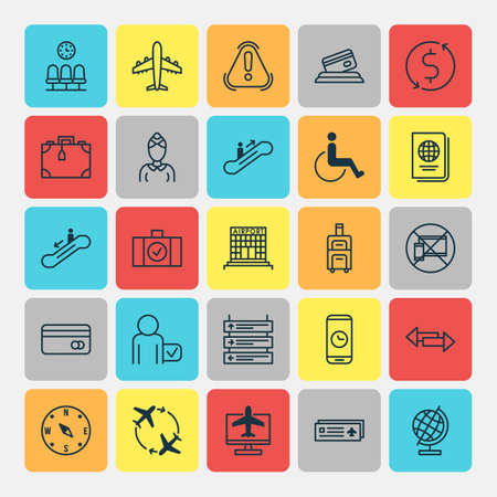 Traveling Icons Set. Collection Of Moving Staircase, Identification Document, Escalator Down And Other Elements. Also Includes Symbols Such As Escalator, Research, Plane. Ilustração