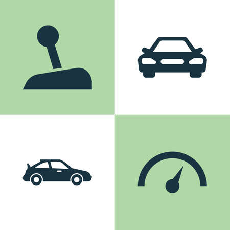 Car Icons Set. Collection Of Stick, Chronometer, Crossover And Other Elements. Also Includes Symbols Such As Auto, Stick, Chronometer.