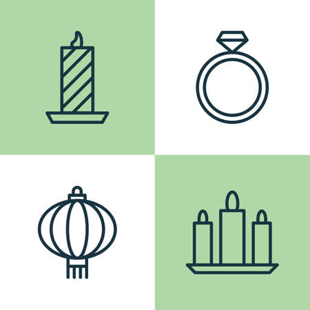 burning paper: Happy Icons Set. Collection Of Traditional Lamp, Wax, Wedding Jewel And Other Elements. Also Includes Symbols Such As Wax, Candle, Lantern. Illustration
