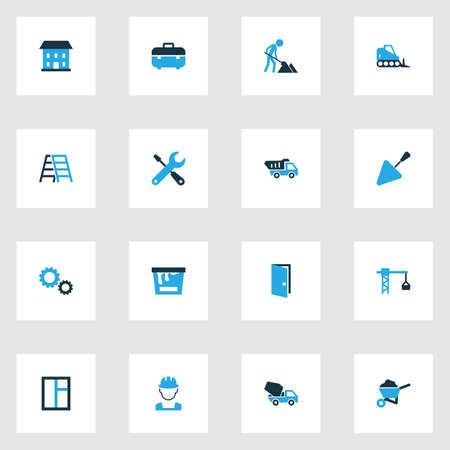 clambering: Architecture Colorful Icons Set. Collection Of Open, Screwdriver, Glass And Other Elements. Also Includes Symbols Such As Screwdriver, Pass, Window.