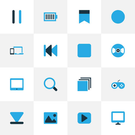 palmtop: Music Colorful Icons Set. Collection Of Devices, Flag, Pause And Other Elements. Also Includes Symbols Such As Bookmark, Backward, Palmtop. Illustration