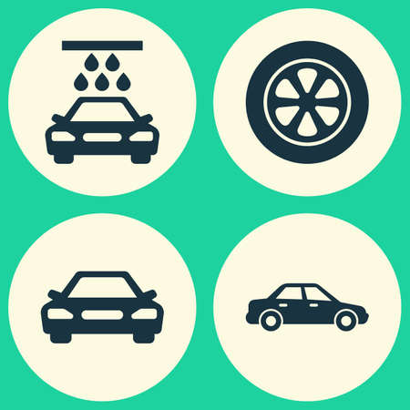 rim: Automobile Icons Set. Collection Of Automobile, Auto, Wheel And Other Elements. Also Includes Symbols Such As Wheel, Water, Auto. Illustration