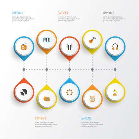 Music Flat Icons Set. Collection Of Earpiece, Broadcasting, Ear Muffs And Other Elements. Also Includes Symbols Such As Fm, Instrument, Headphone.
