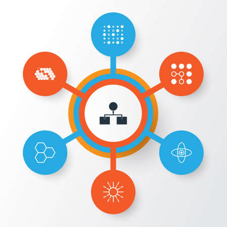 Machine Icons Set. Collection Of Variable Architecture, Computing Problems, Hive Pattern And Other Elements. Also Includes Symbols Such As Structure, Cells, Brain.