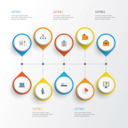 Job Flat Icons Set. Collection Of Diagram, Contract, Hierarchy And Other Elements. Also Includes Symbols Such As Man, Graph, Circle.