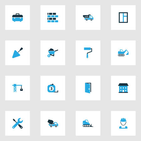millimeter: Building Colorful Icons Set. Collection Of Glass, Barrow, Building And Other Elements. Also Includes Symbols Such As Bulldozer, Shovel, Barrow. Illustration