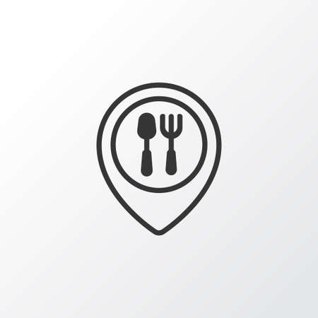 supper: Restaurant Location Icon Symbol. Premium Quality Isolated Food Mapping Element In Trendy Style.