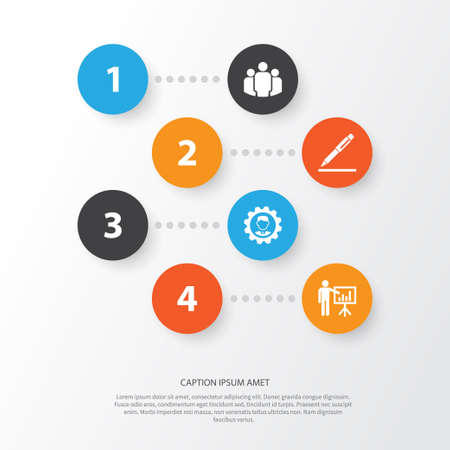 Business Icons Set. Collection Of Leader, Presenting Man, Pen And Other Elements. Also Includes Symbols Such As Pen, Unity, Leader. Illustration