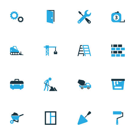 tooling: Industry Colorful Icons Set. Collection Of Dozer, Gear, Screwdriver And Other Elements. Also Includes Symbols Such As Wrench, Mechanical, Trowel.